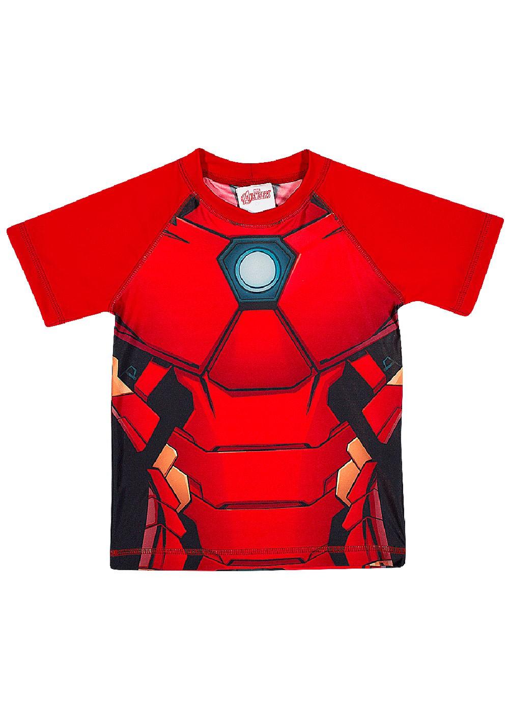 Blusa Infantil com Proteção UV 50+ Verão Vermelha Homem de Ferro Tip Top