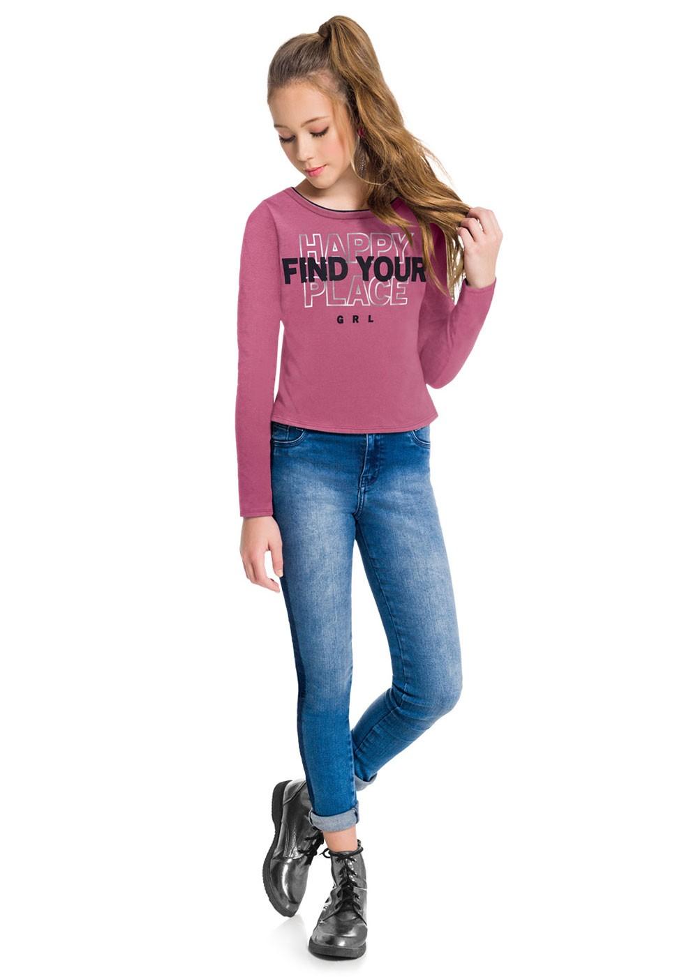 Blusa Infantil Feminina Estampada Rosa Inverno Amora