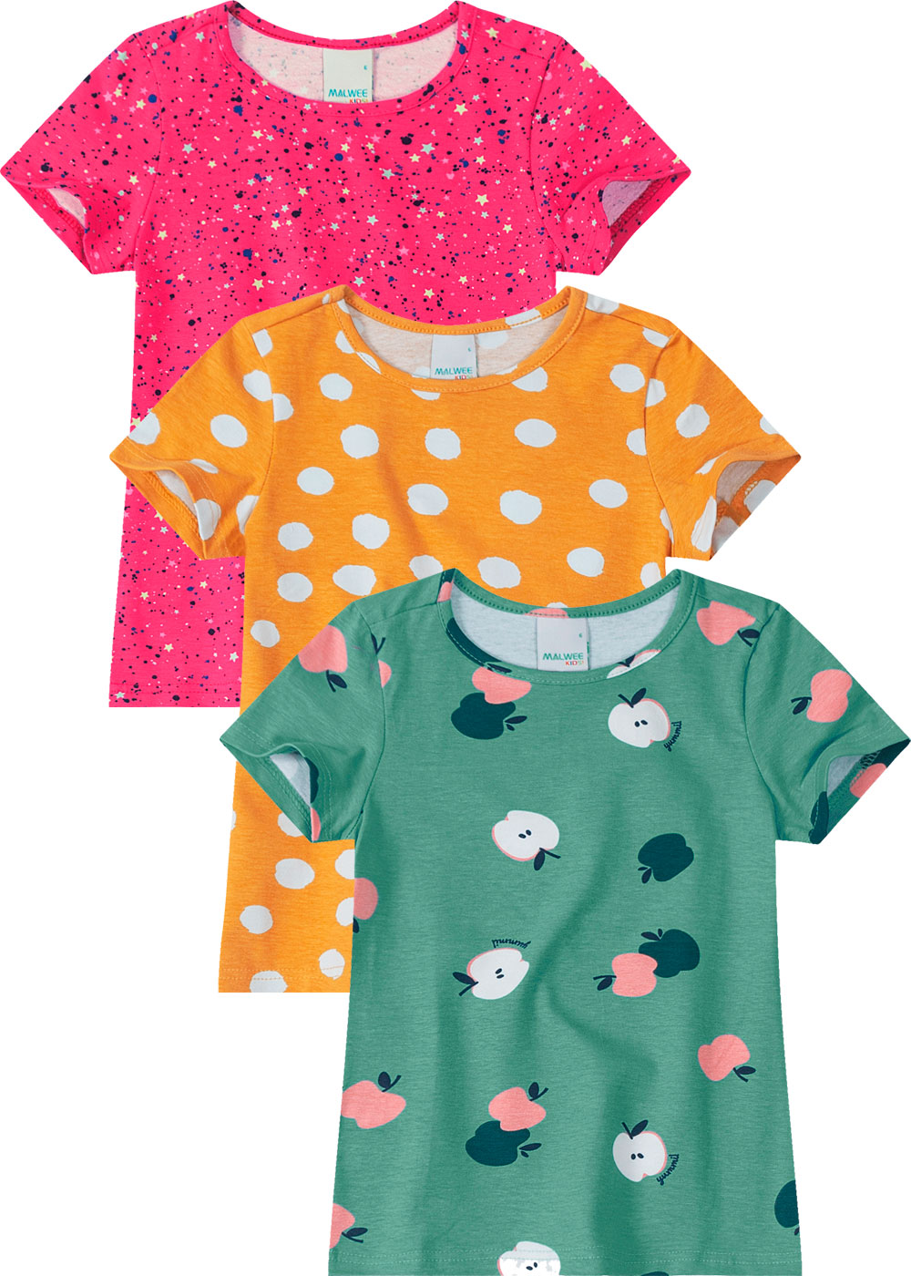 Kit 3 Blusas Infantil Feminina Estampadas Malwee