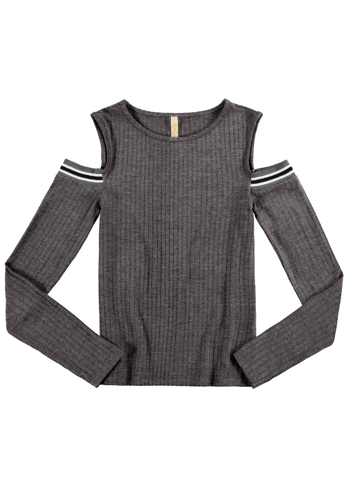 Blusa Infantil Feminino Inverno Cinza Ombro Vazado Alakazoo