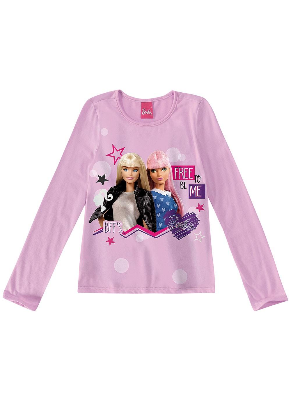 Blusa Infantil Feminina Inverno Rosa Barbie  Malwee