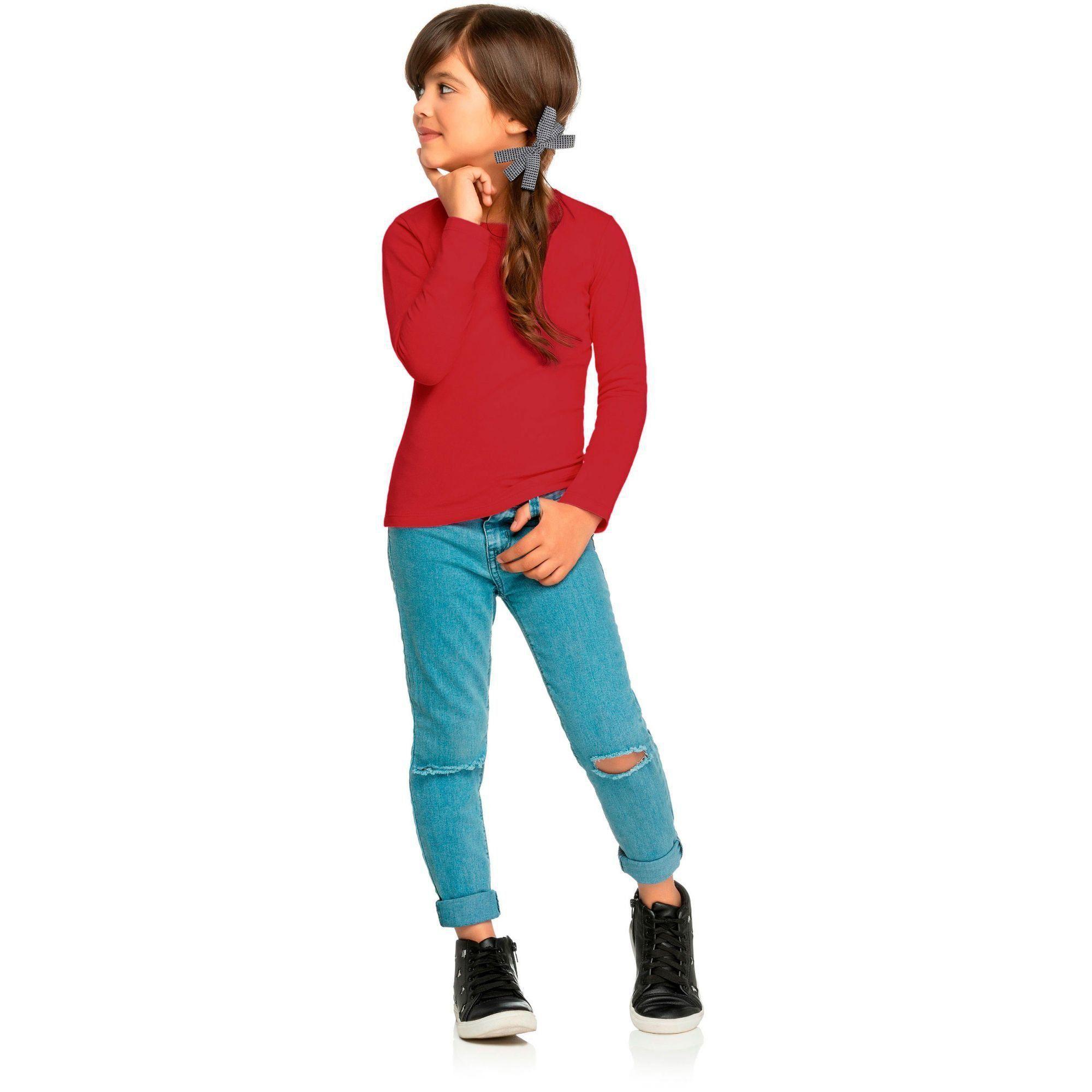 Blusa Infantil Feminina Inverno Vermelha Elian