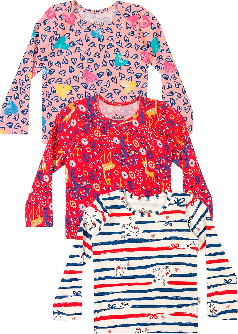 Blusa Infantil Feminina Kit 3 Inverno Offwhite Laços - Elian
