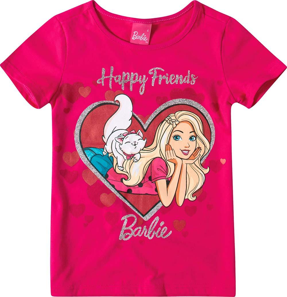 Blusa Infantil Feminina Verão Rosa Barbie  Malwee