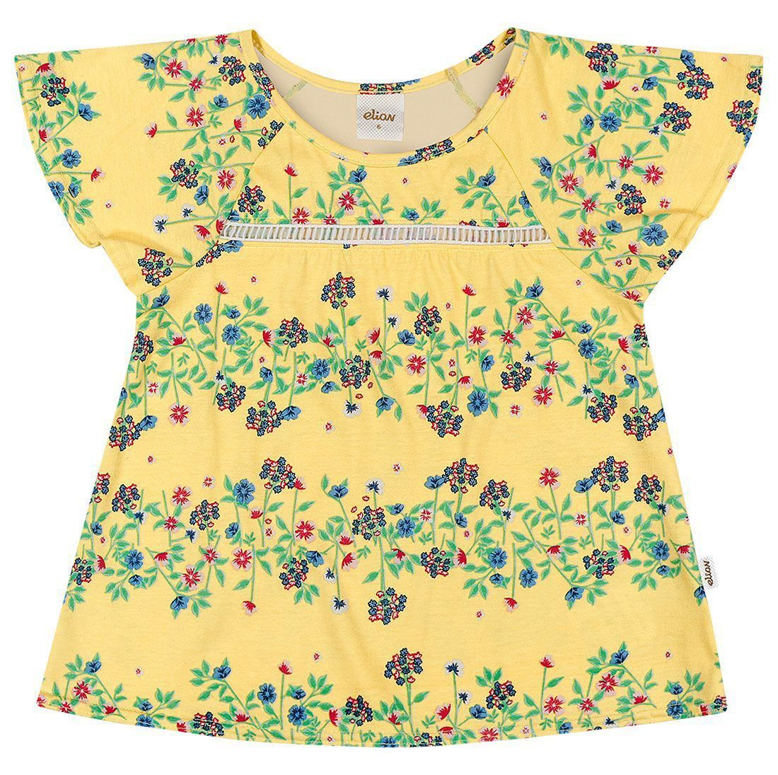 Blusa Infantil Feminina Verão Amarela Floral Elian