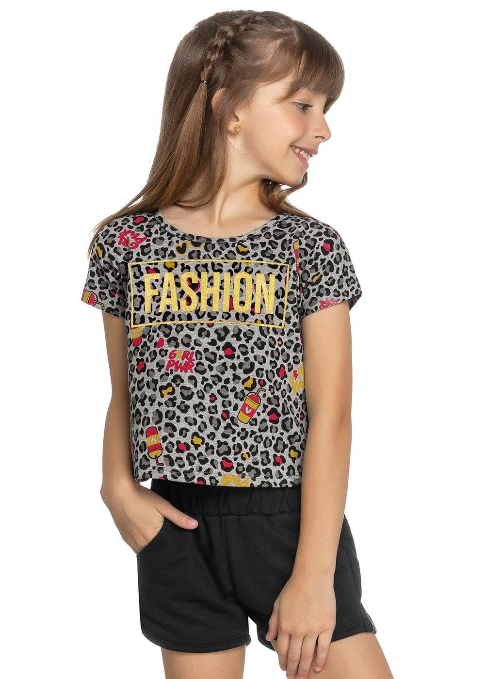 Blusa Infantil Feminina Verão Cinza Fashion Elian