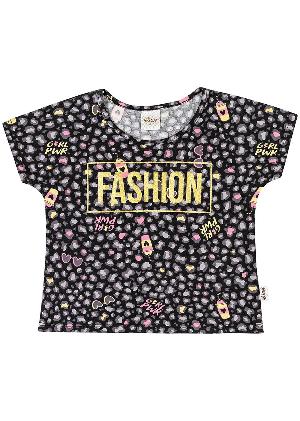 Blusa Infantil Feminina Verão Preta Fashion Elian