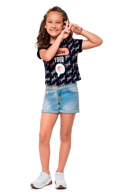Blusa Infantil Feminina Verão Preta Follow Kyly