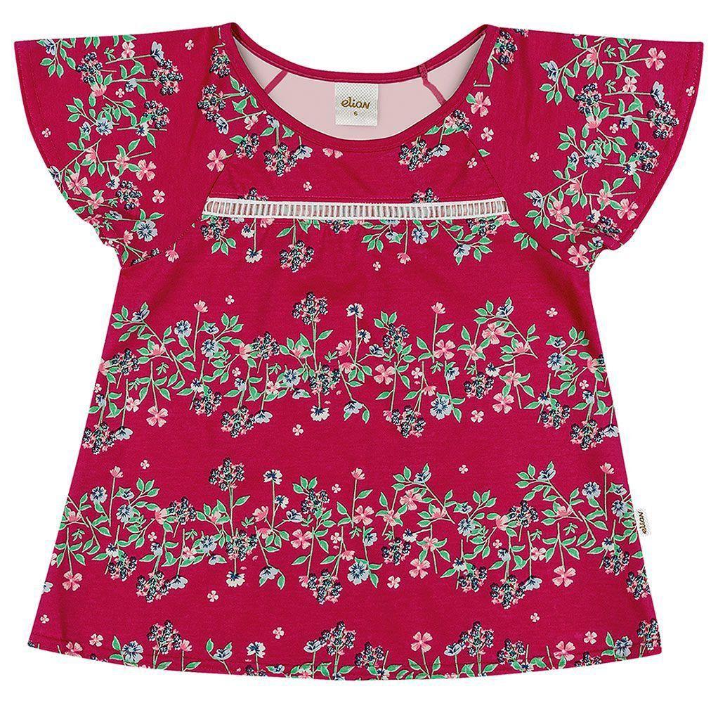 Blusa Infantil Feminina Verão Rosa Floral Elian