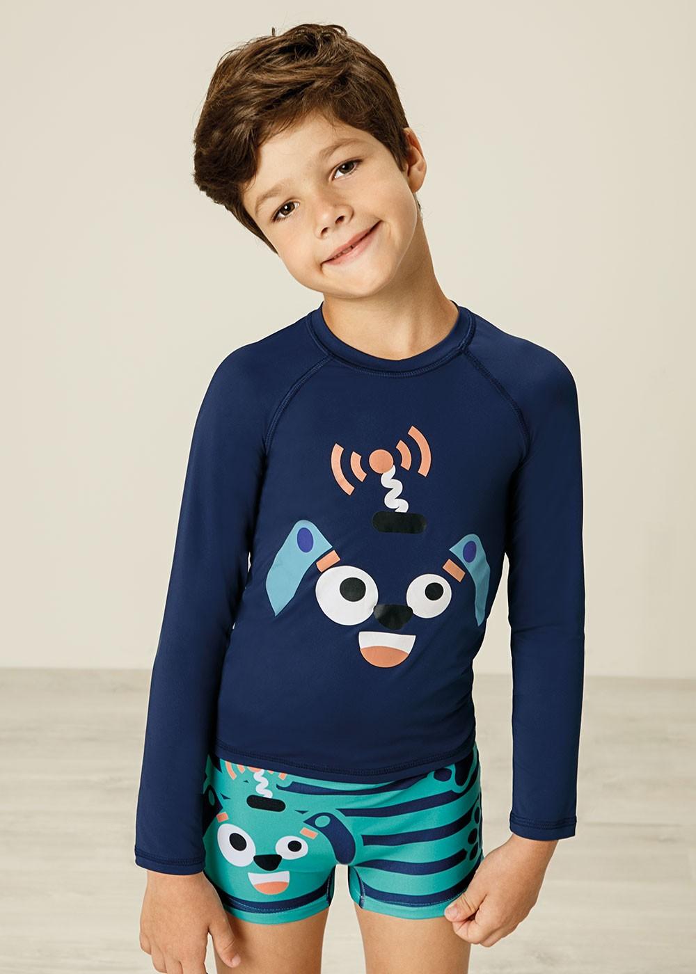 Blusa Térmica Infantil com Proteção UV50+ Azul Bichinho Malwee