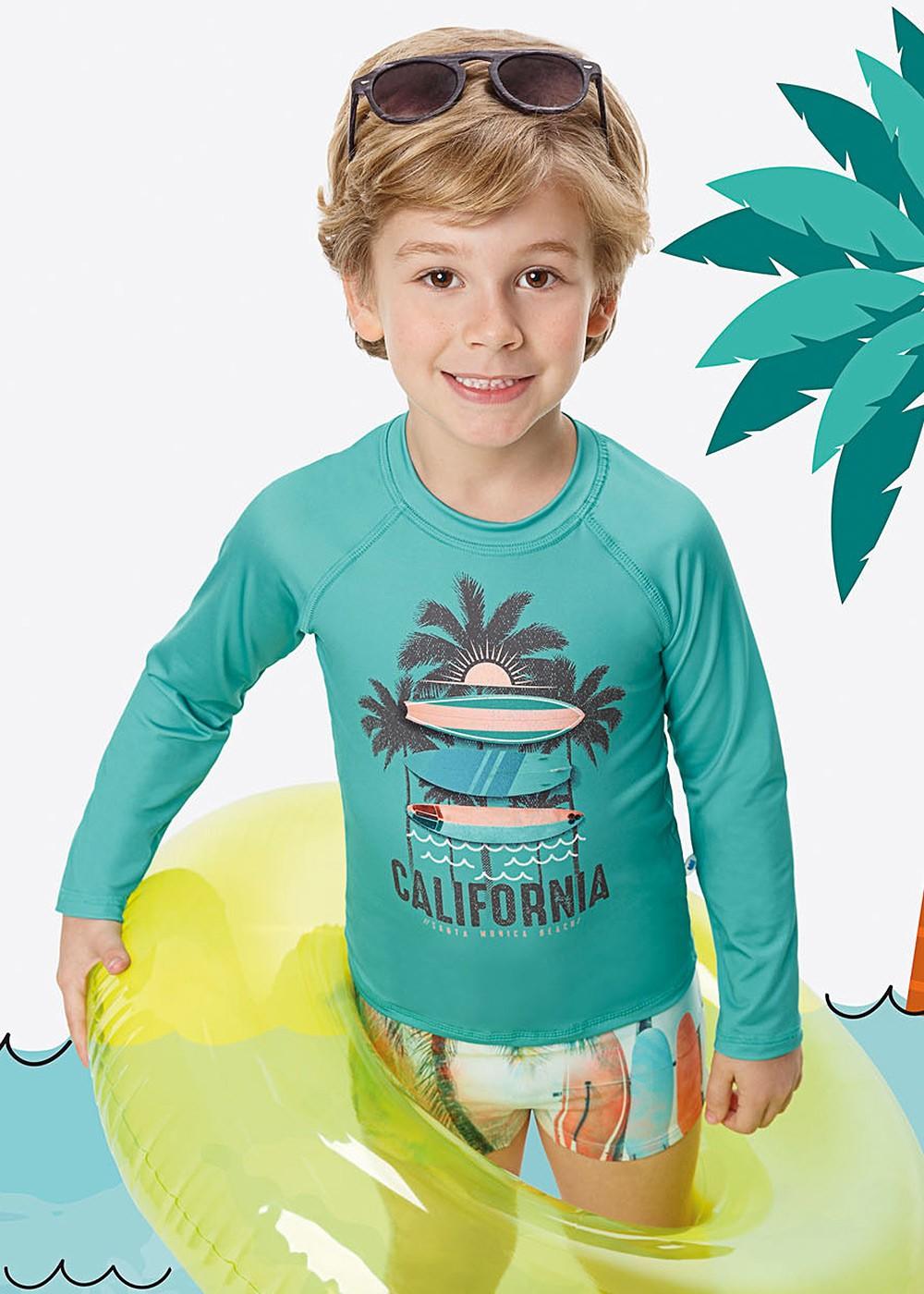 Blusa Térmica Infantil com Proteção UV50+ Verde California Malwee