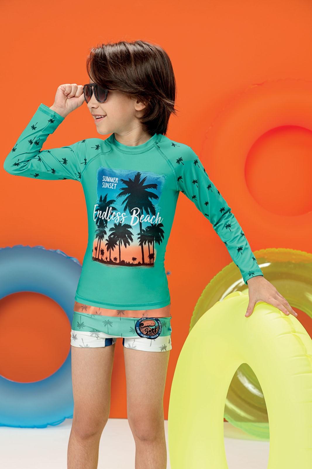 Blusa Térmica Infantil com Proteção UV50+ Verde Summer Malwee