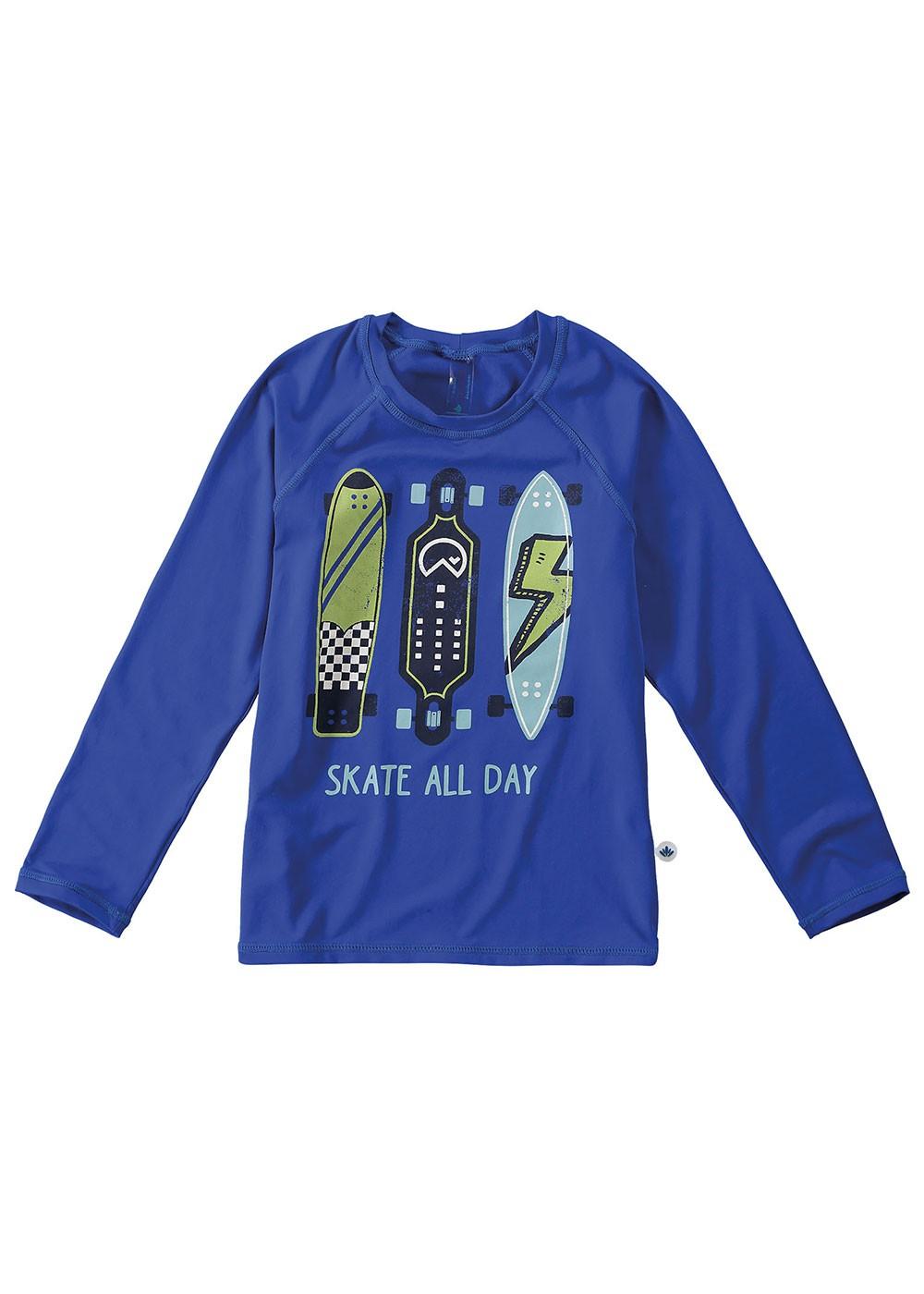 Blusa Térmica Infantil com Proteção UV50+ Azul Royal Skate Malwee