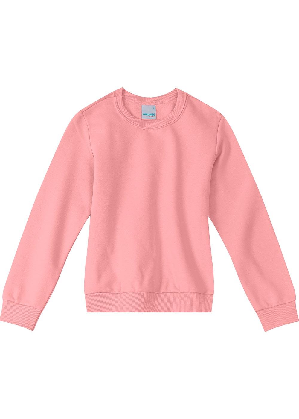 Blusão Infantil Feminino Flanelado Rosa Básico - Malwee