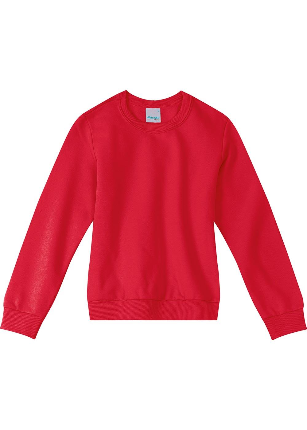 Blusão Infantil Feminino Flanelado Vermelho Básico - Malwee