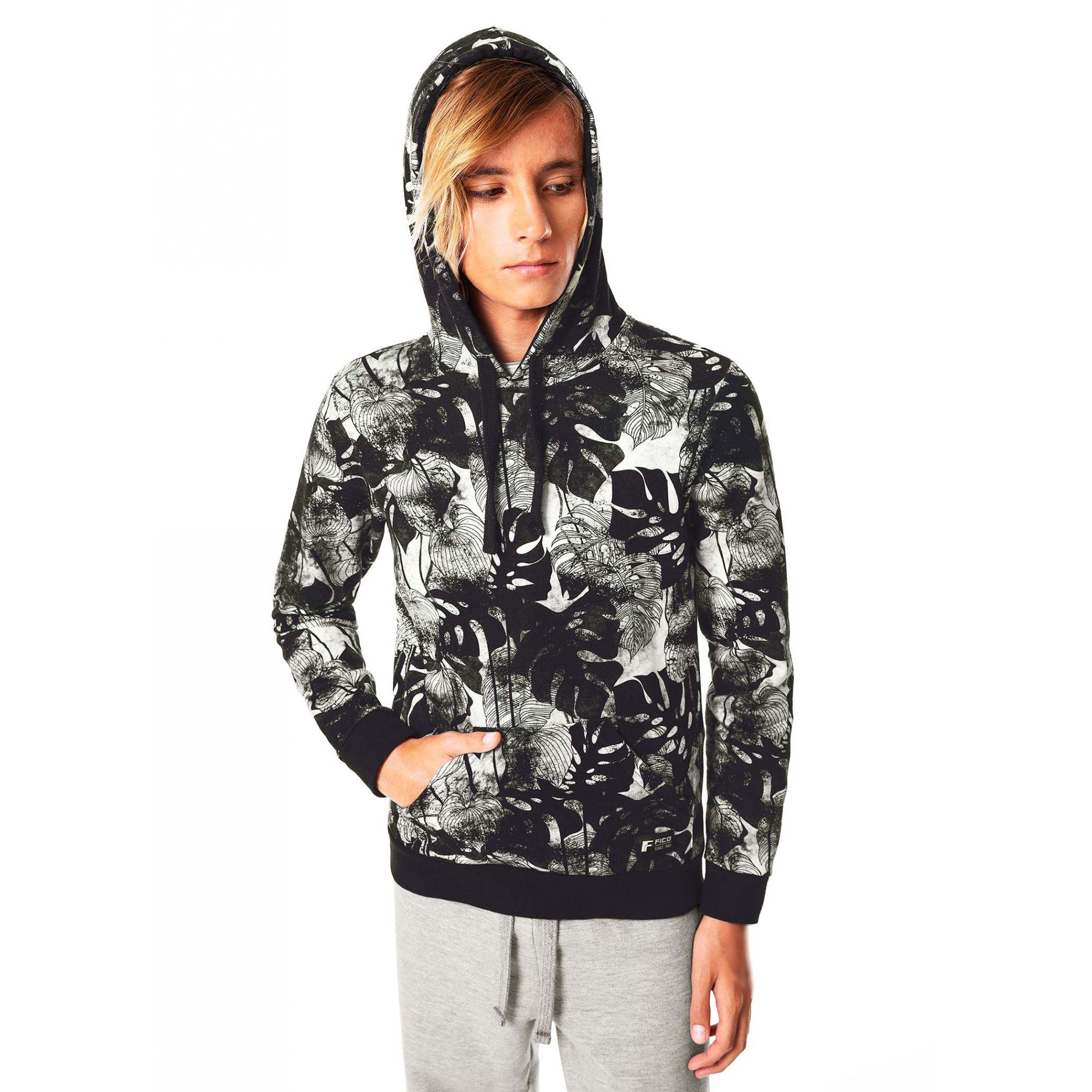 Jaqueta Blusão Infantil Masculino Inverno Preto Floral Fico