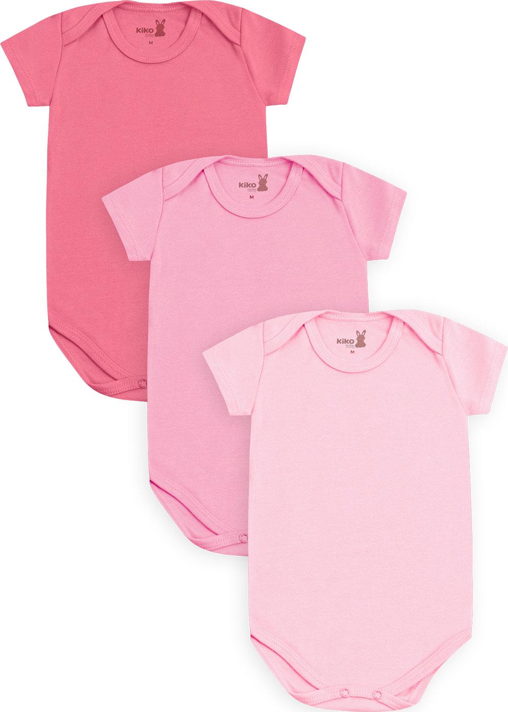 Body Bebê Feminino Verão Kit 3 Rosa Médio Lisos - Kiko e Kika