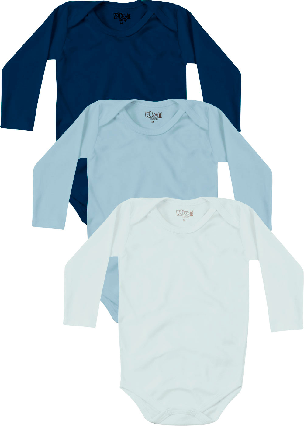 Body Infantil Masculino Inverno Kit 3 Azul Lisos - Kiko e Kika
