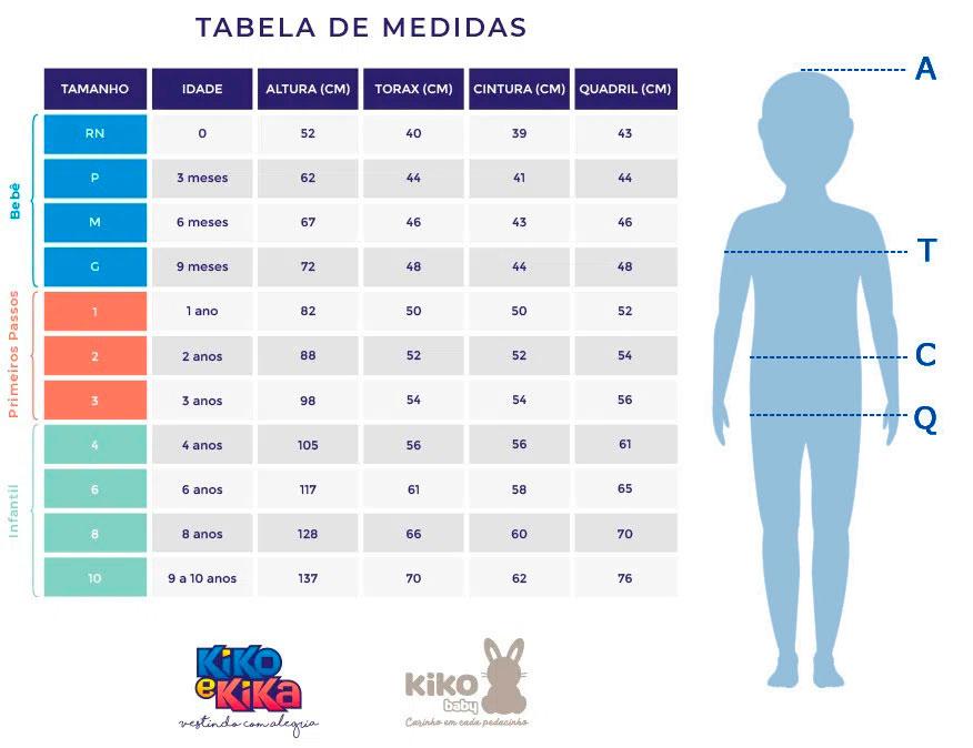 Macacão Bebê Masculino Verão Cinza Tigre - Kiko e Kika: Tabela de medidas