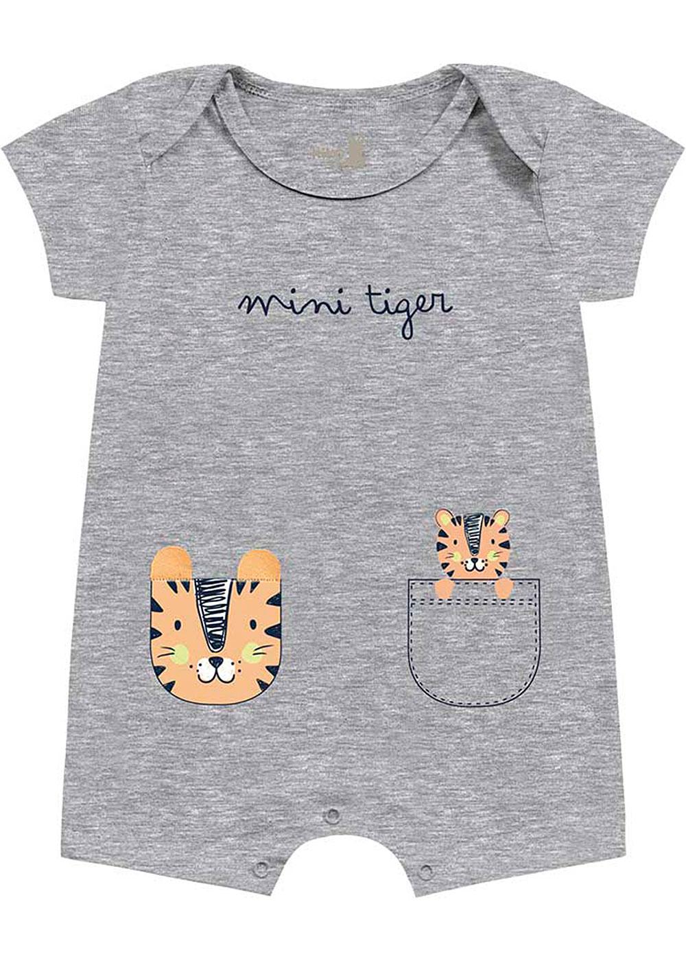 Macacão Bebê Masculino Verão Cinza Tigre - Kiko e Kika