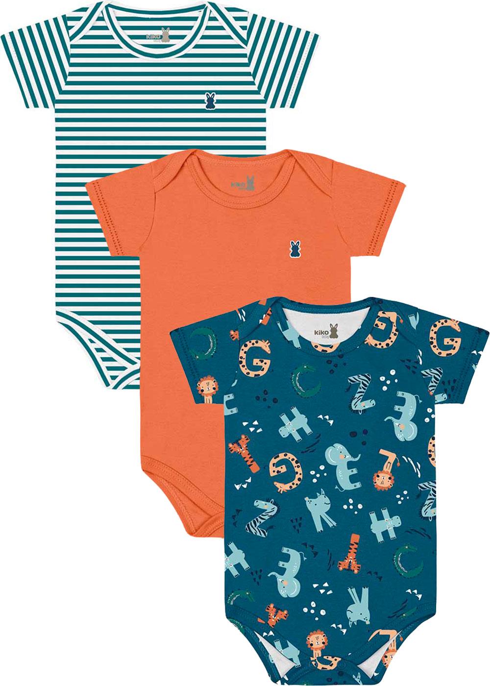 Body Bebê Masculino Verão Kit 3 Azul Bichinhos - Kiko e Kika