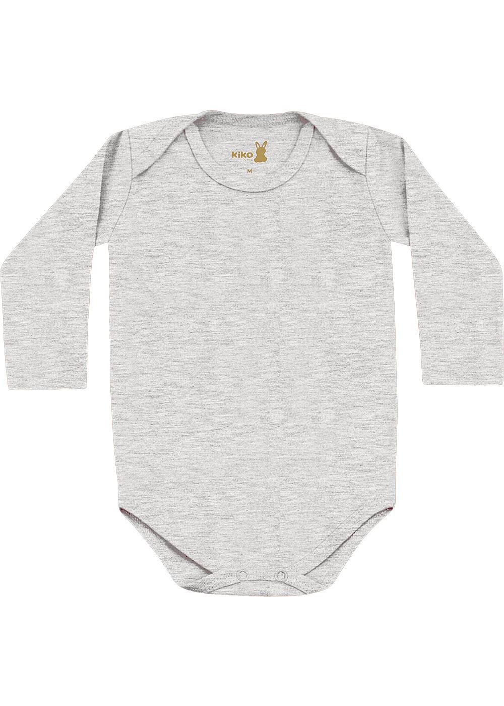 Body Infantil Unissex Inverno Kit 3 Cinza Lisos - Kiko e Kika