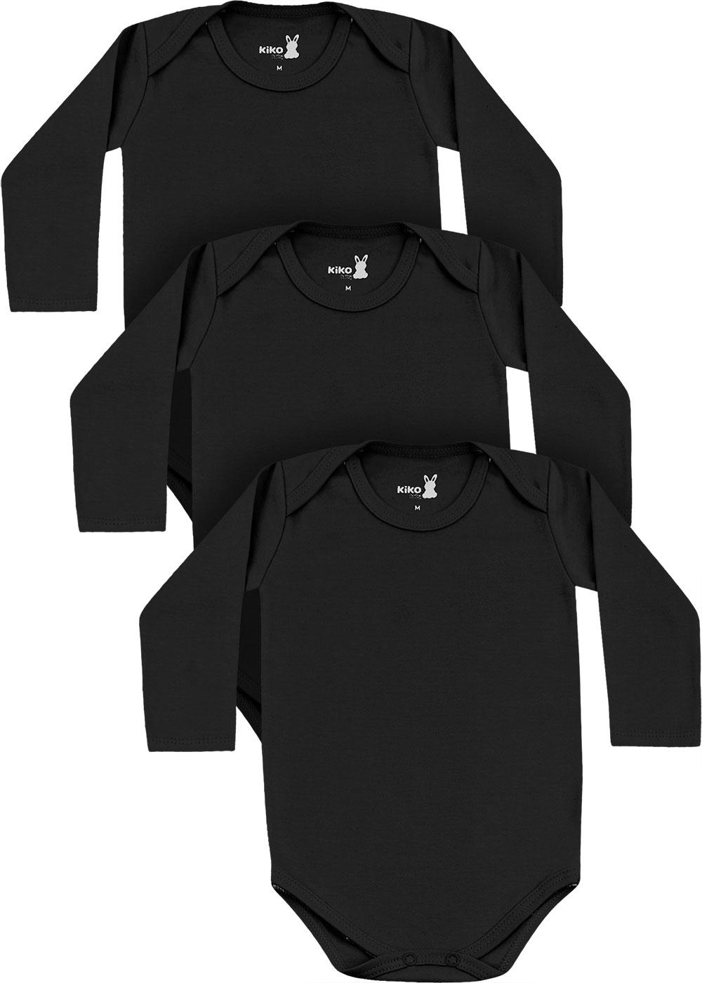 Body Bebê Unissex Inverno Kit 3 Preto Lisos - Kiko e Kika