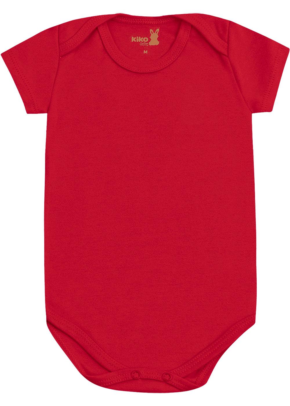 Body Infantil Unissex Verão Kit 3 Vermelho Lisos - Kiko e Kika