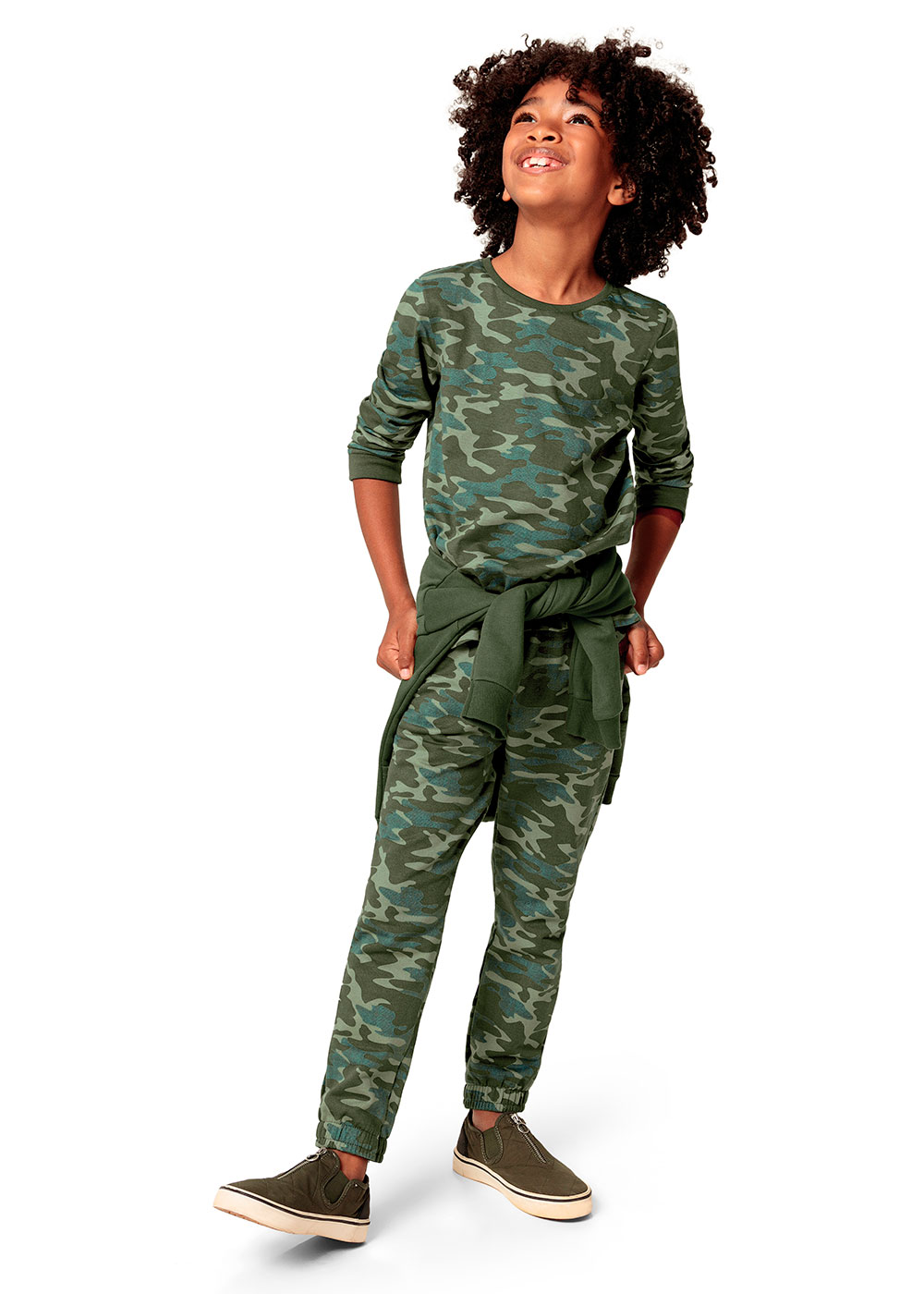 Calça de Moletom Infantil Masculina Verde Camuflada - Malwee