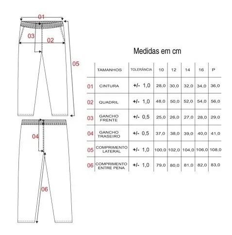 Calça de Tactel Infantil e Adulto Masculina Inverno Azul Elite: Tabela de medidas