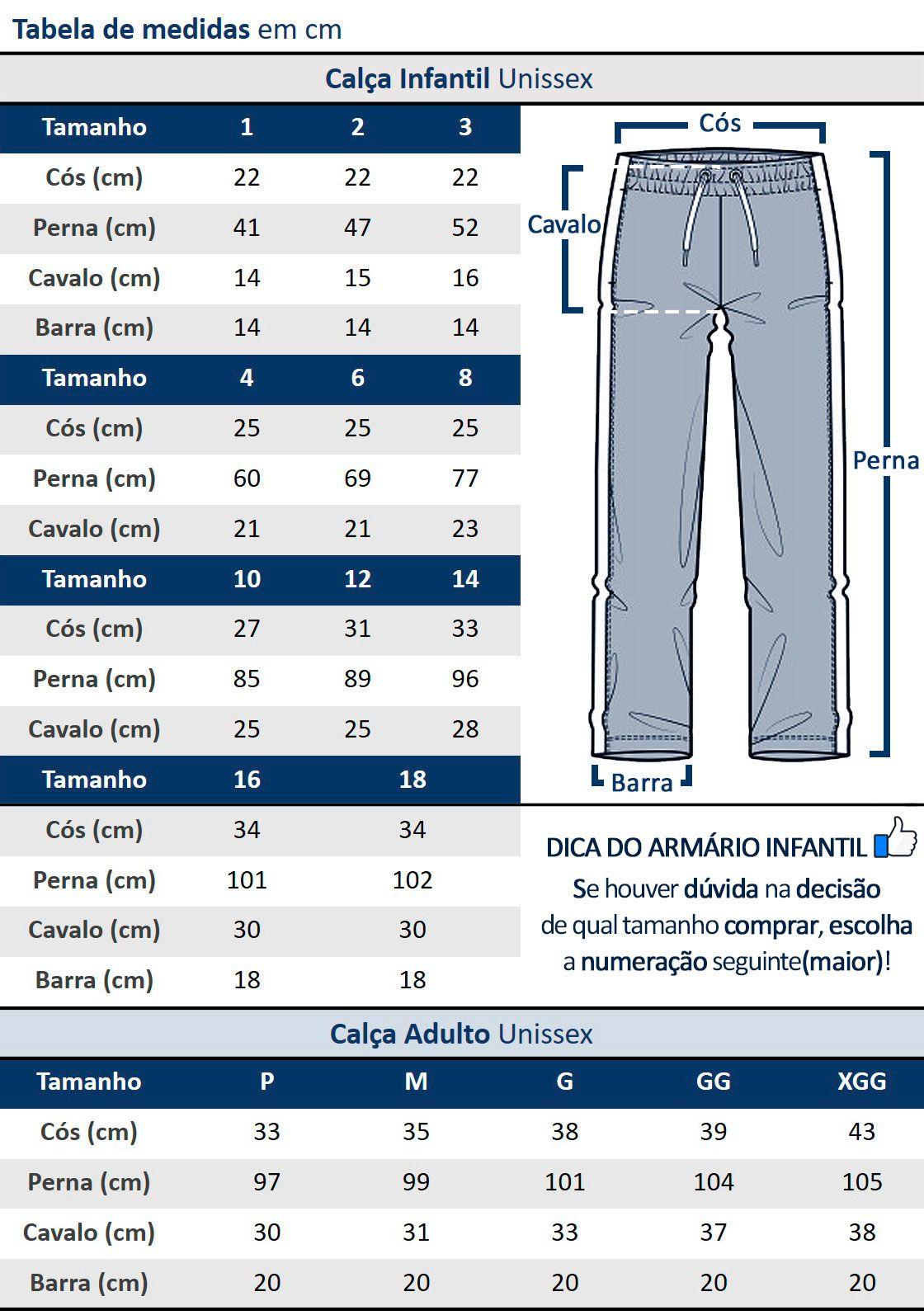 Calça Legging de Moletom Feminina Infantil Preta Flanelada com Punho Malwee: Tabela de medidas