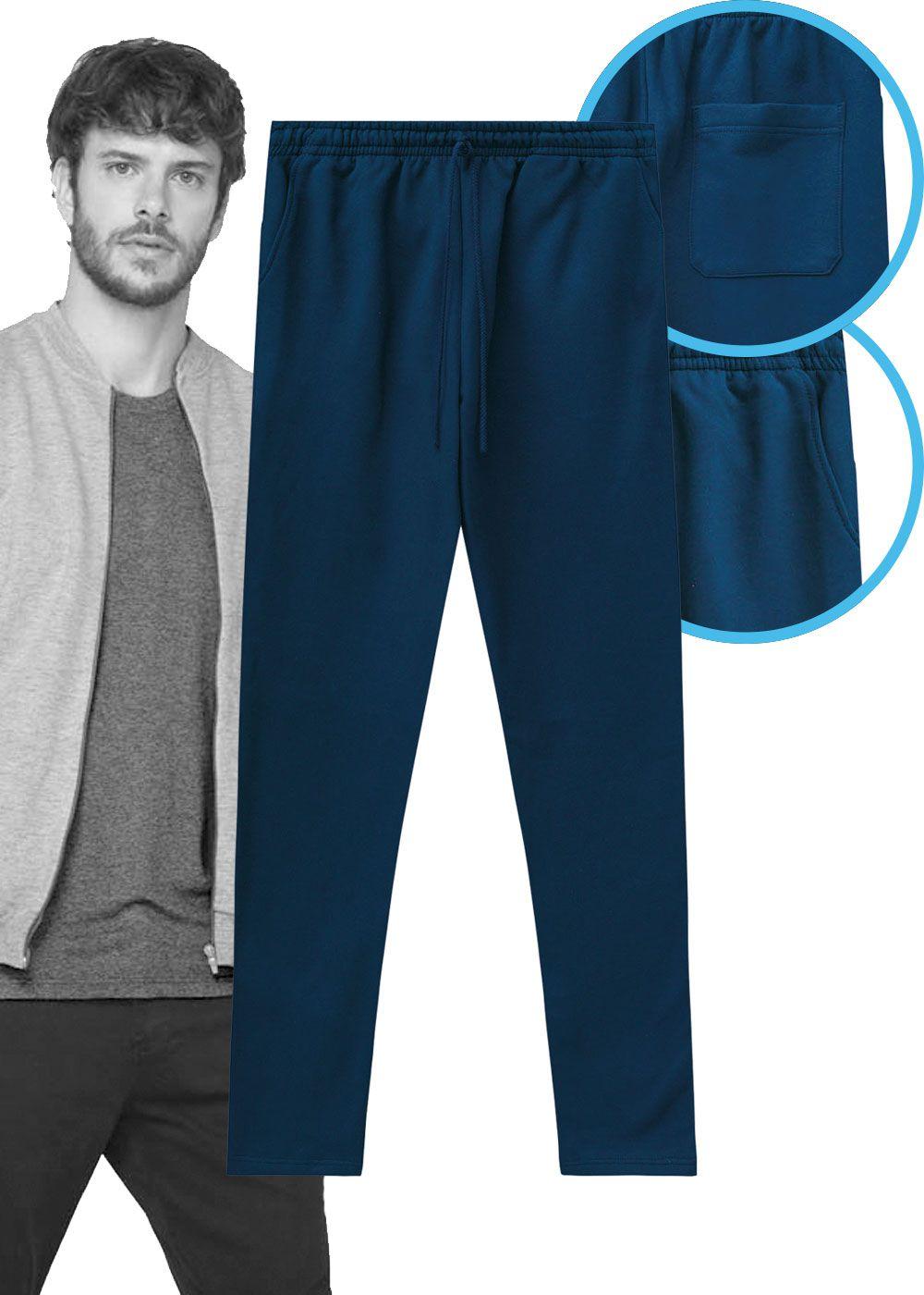 Calça de Moletom Masculina Adulto Inverno Azul Malwee