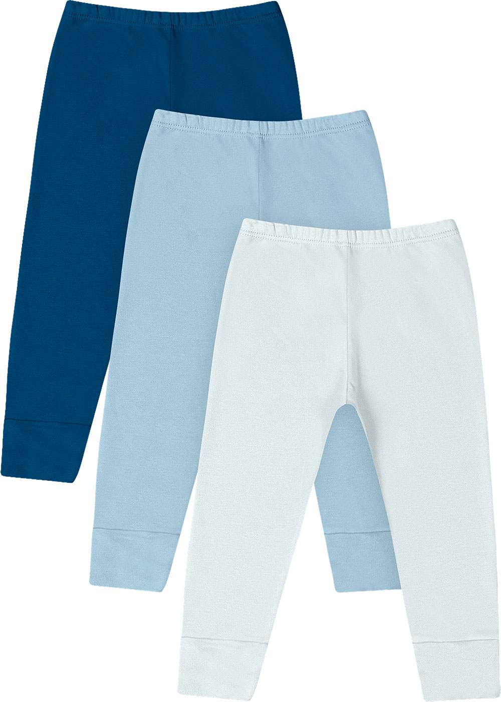 Calça Vira Pé Bebê Masculino Inverno Kit 3 Azul Lisos - Kiko e Kika
