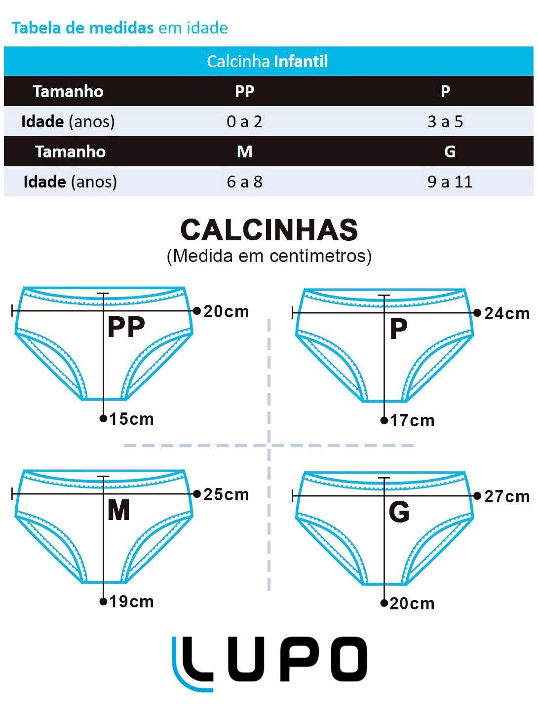 Calcinha Infantil Kit 10 Poá Preta Lupo