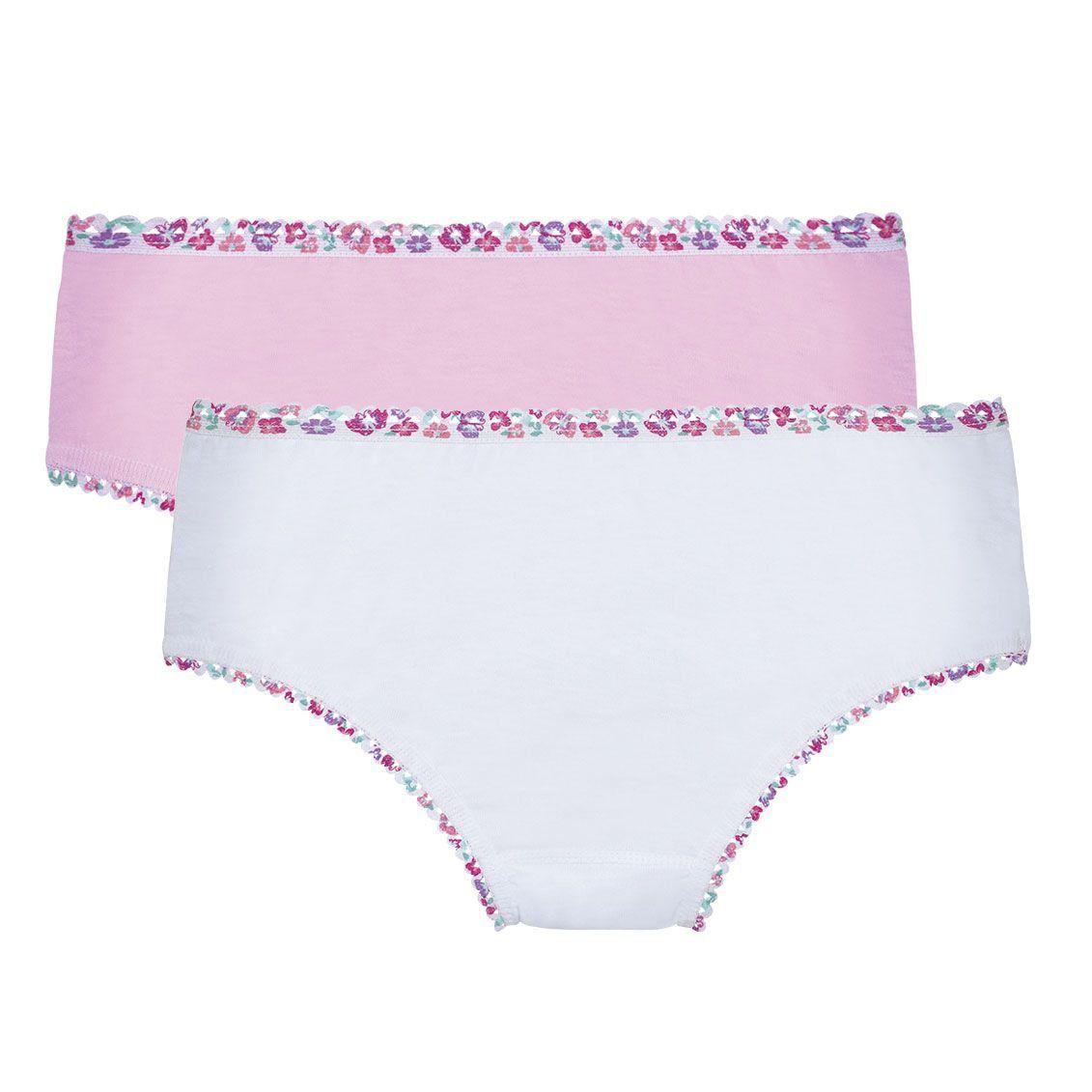 Calcinha Infantil Kit 2 Rosé e Branco Lupo
