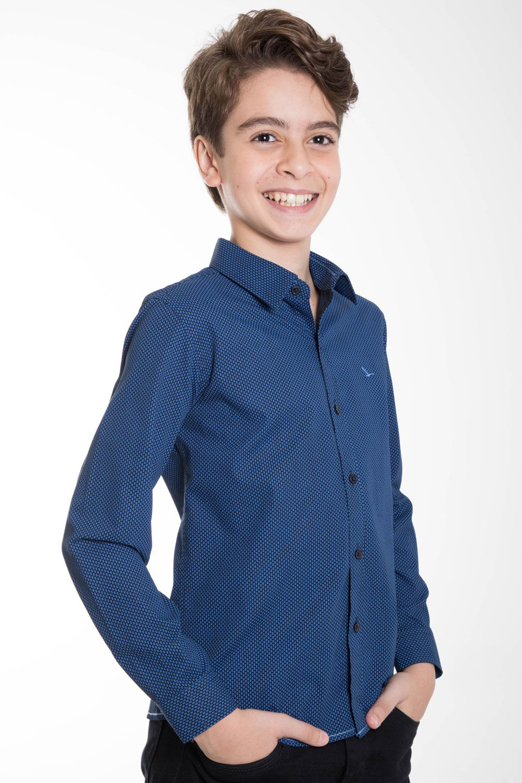 Camisa Infantil Manga Longa Azul Peixe Slim YachtMaster