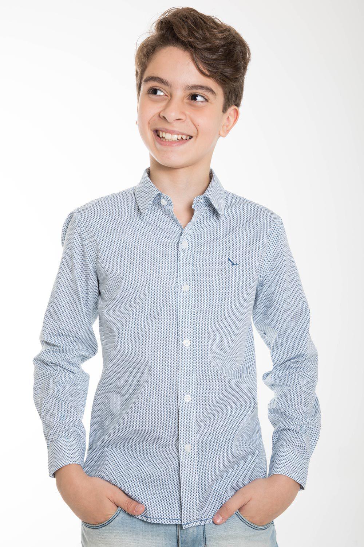 Camisa Infantil Manga Longa Branca Peixe Slim YachtMaster