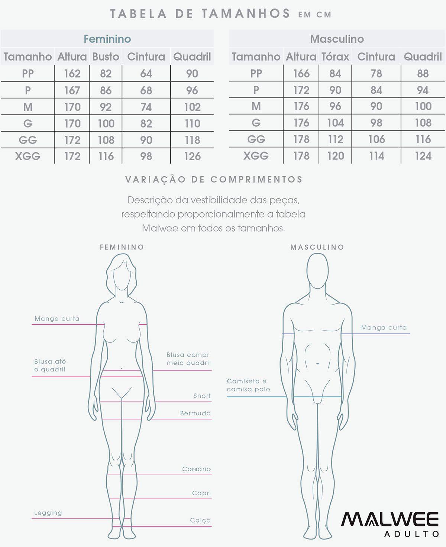 Camiseta ADULTO Masculina Verão Cinza Malwee: Tabela de medidas