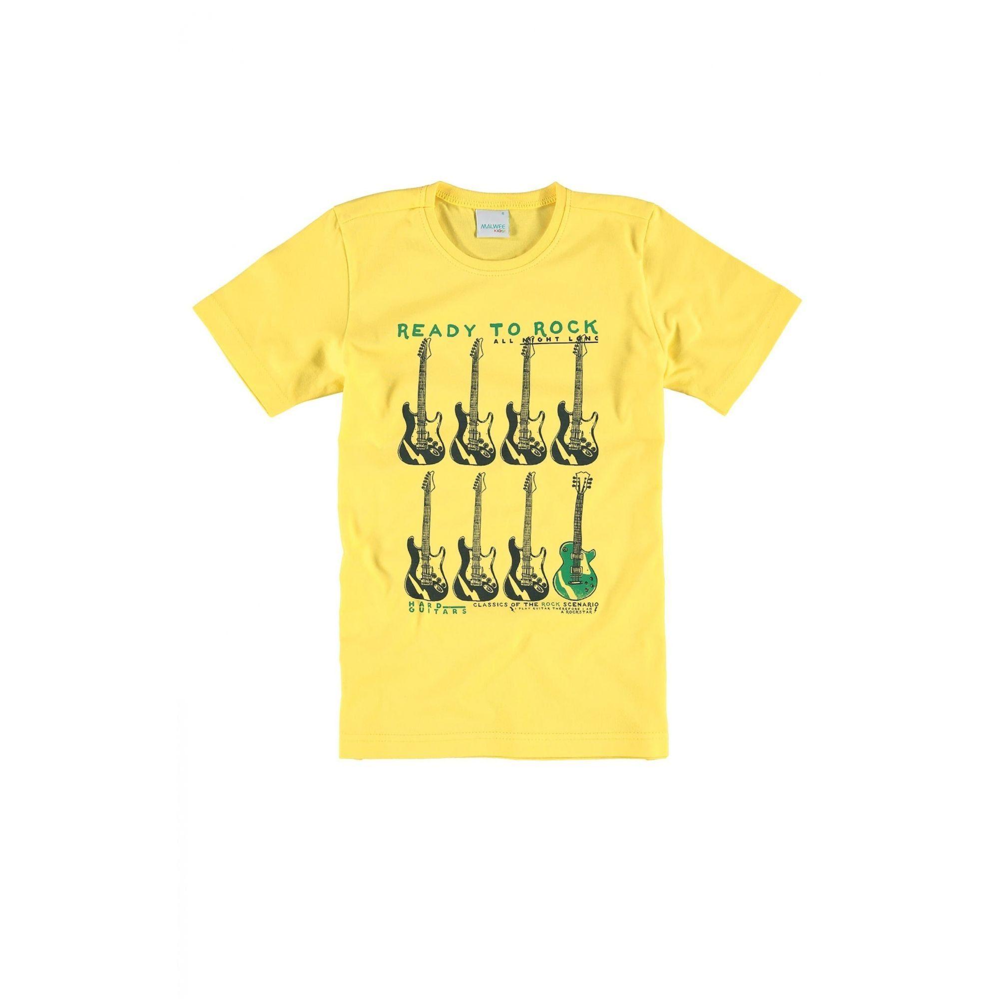Camiseta Infantil Masculina Amarela Ready to Rock Malwee