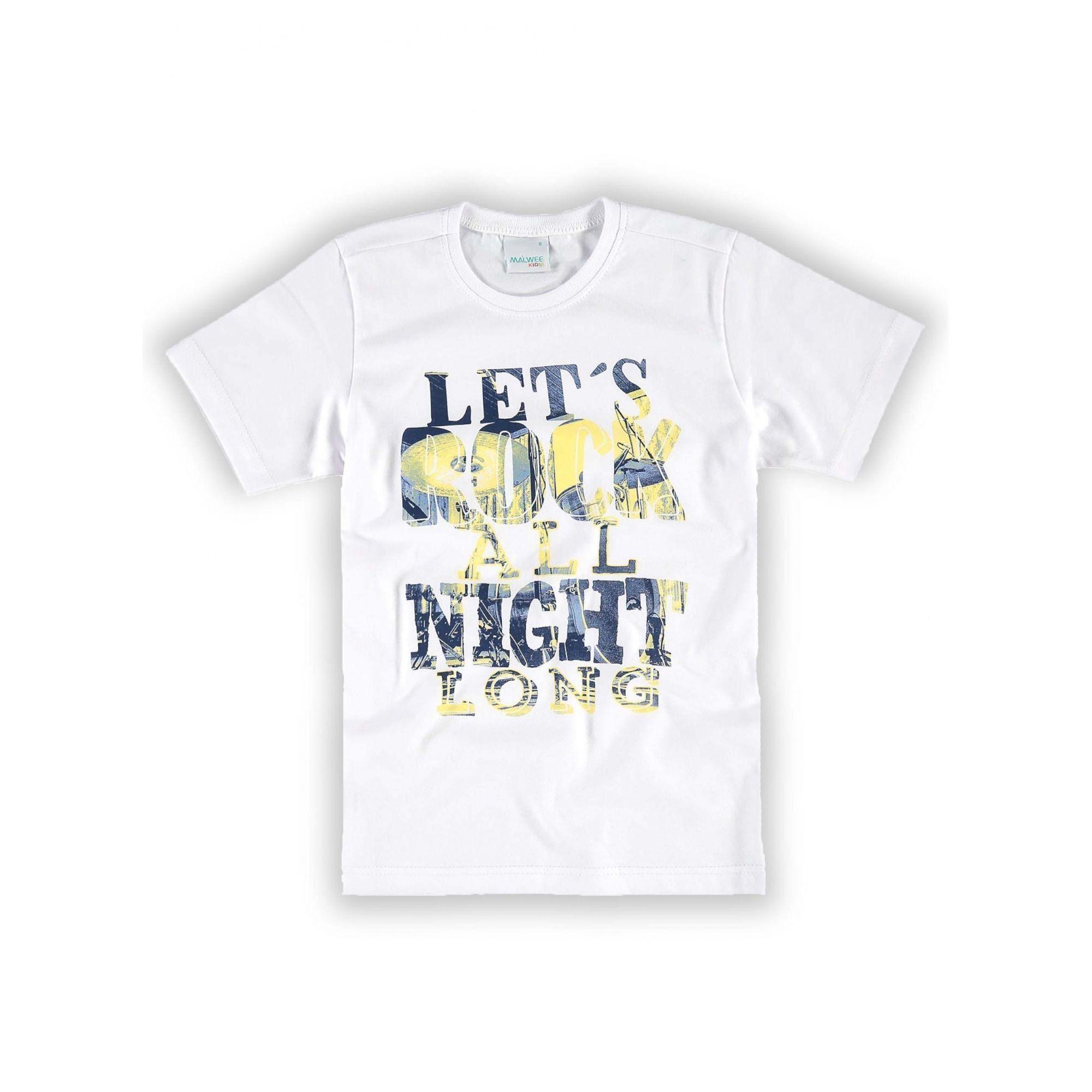 Camiseta Infantil Masculina Branca Let's Rock Malwee