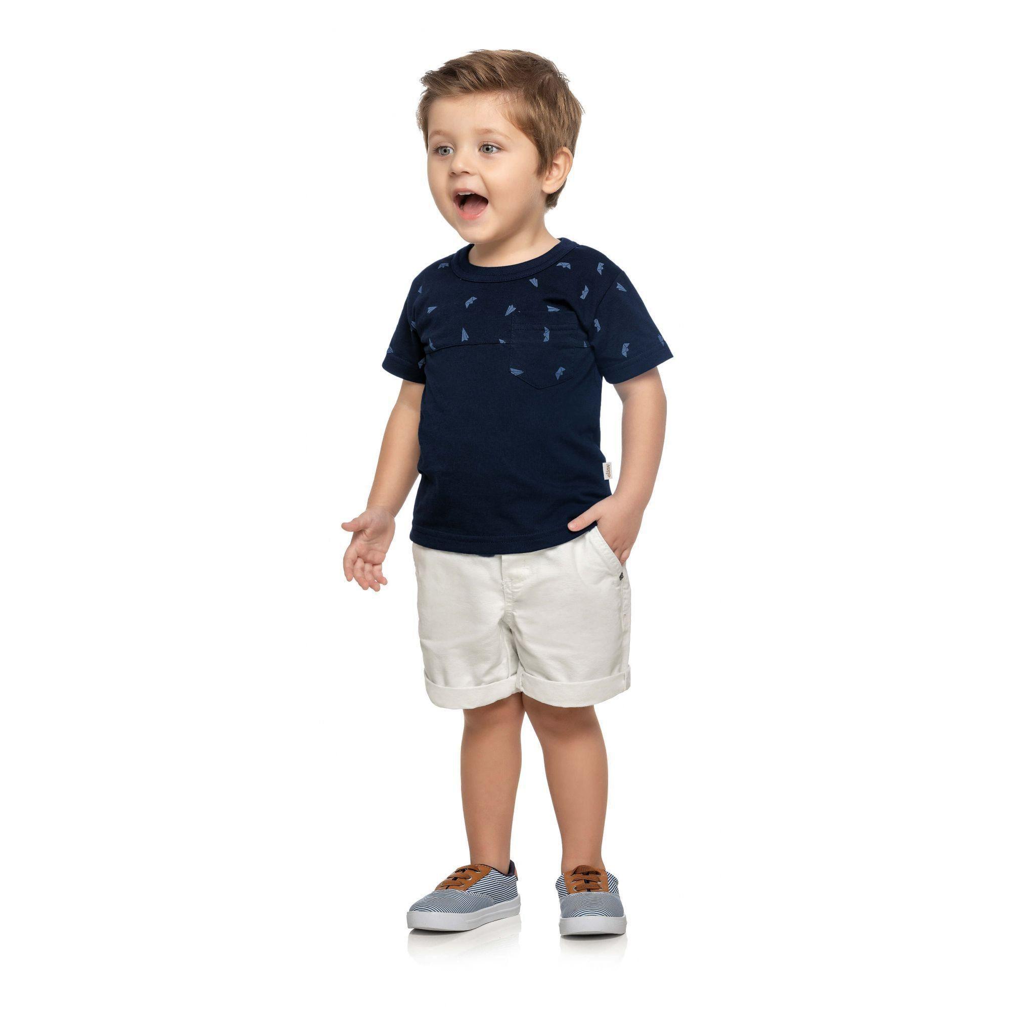 Camiseta Infantil Masculina Marinho Aviões Elian