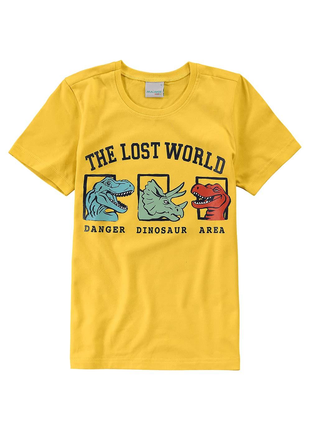 Camiseta Infantil Masculina Amarela World Malwee