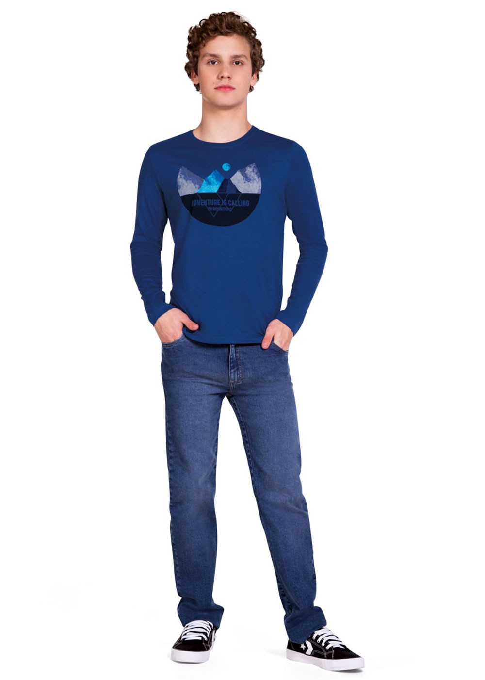 Camiseta Infantil Masculina Inverno Azul Adventure - Malwee