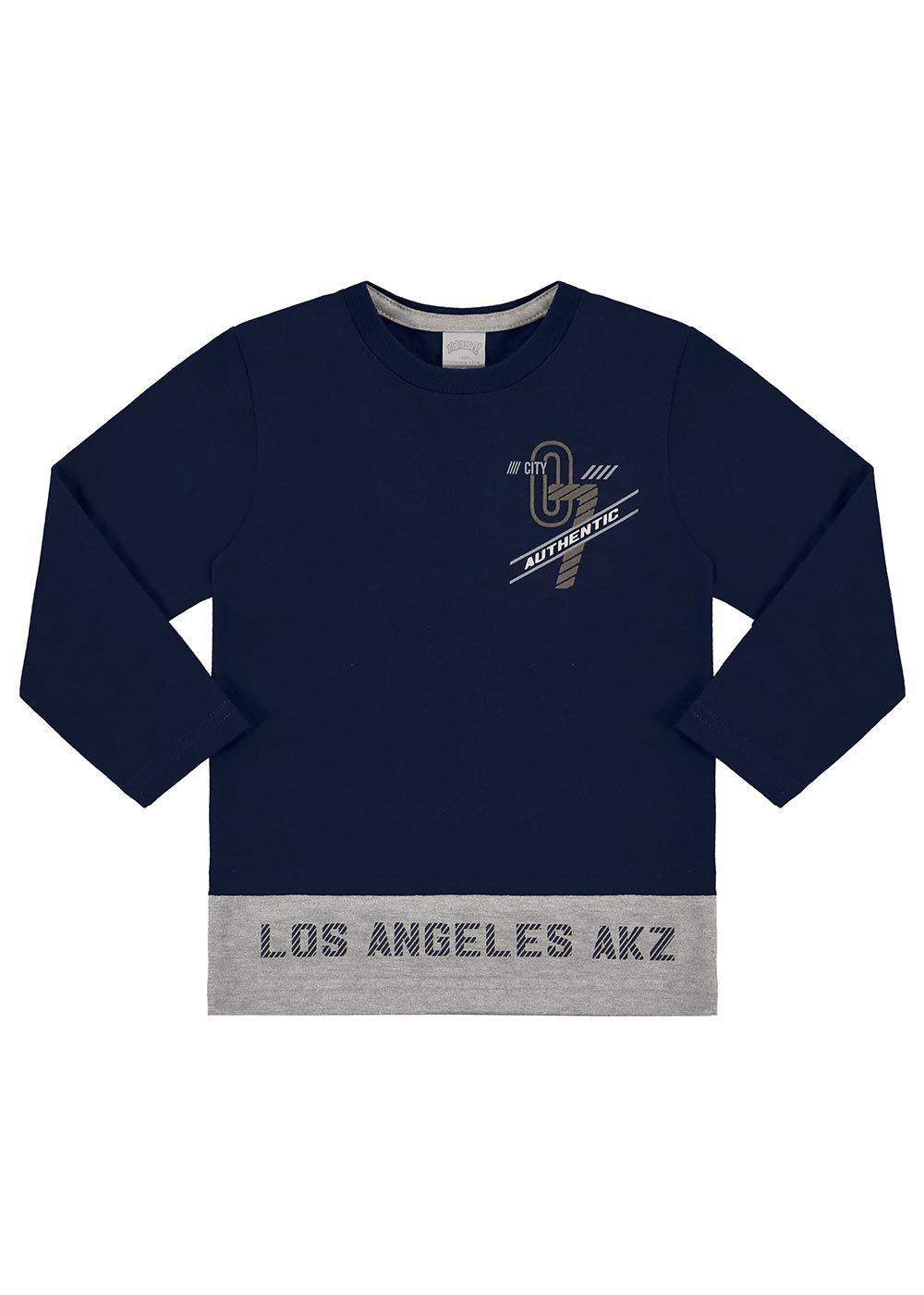 Camiseta Infantil Masculina Inverno Azul Authentic Alakazoo