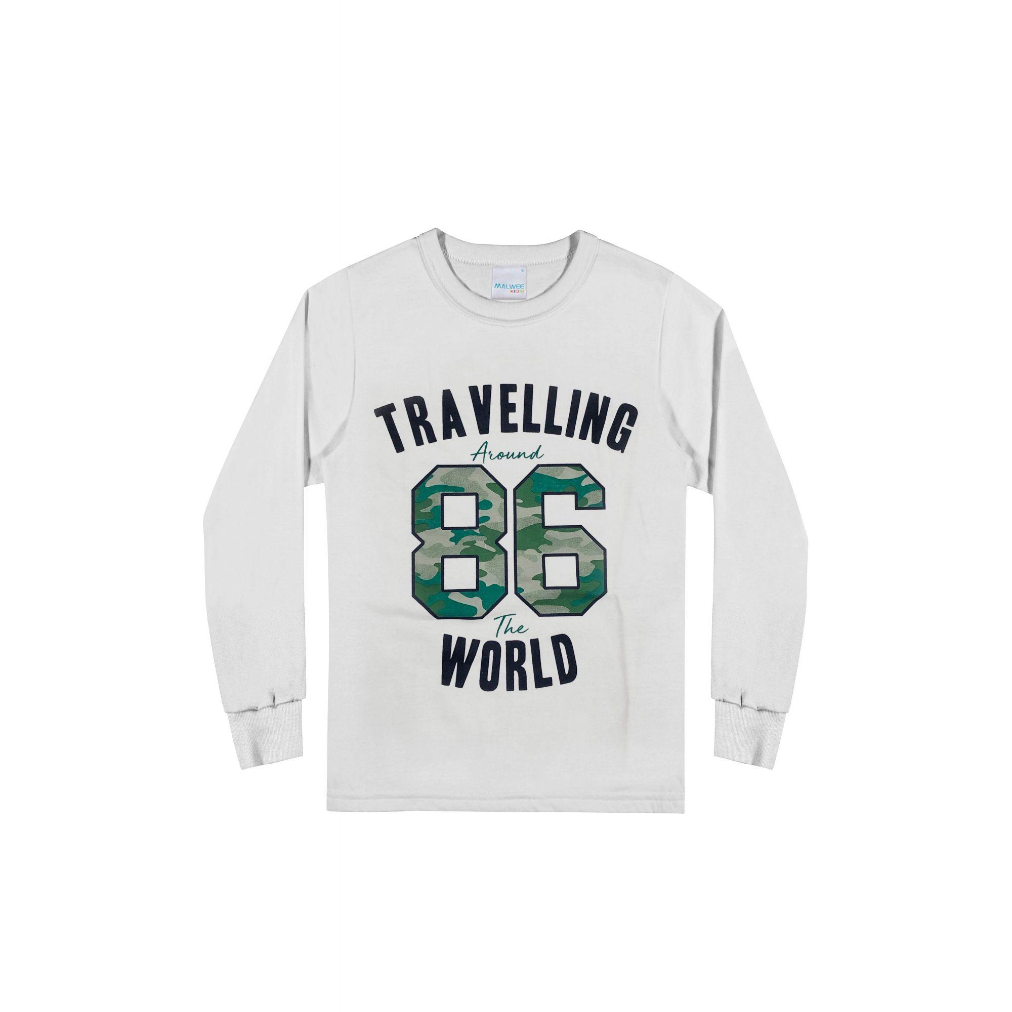 Camiseta Infantil Masculina Inverno Branca 86 Malwee