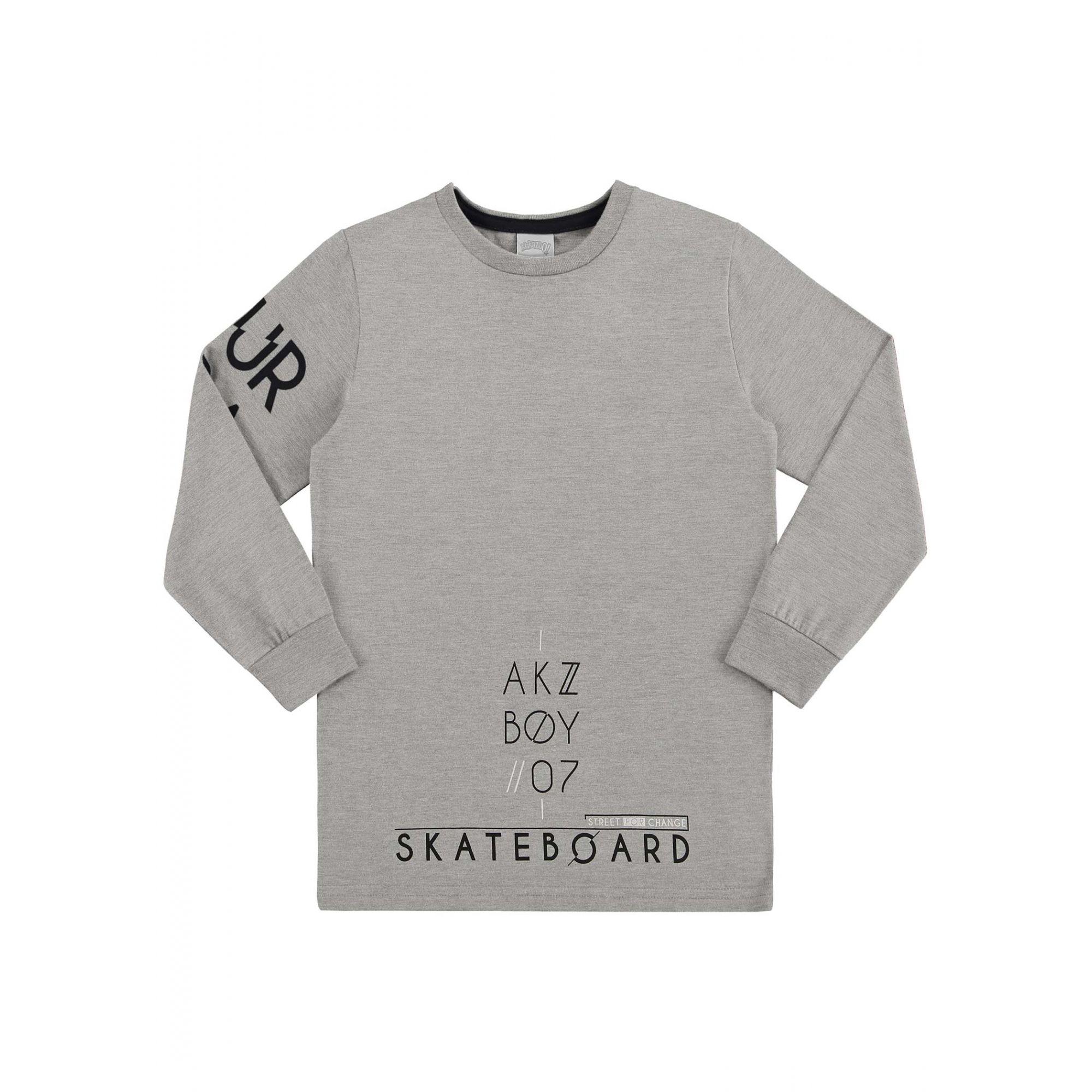 Camiseta Infantil Masculina Inverno Cinza Boy Alakazoo