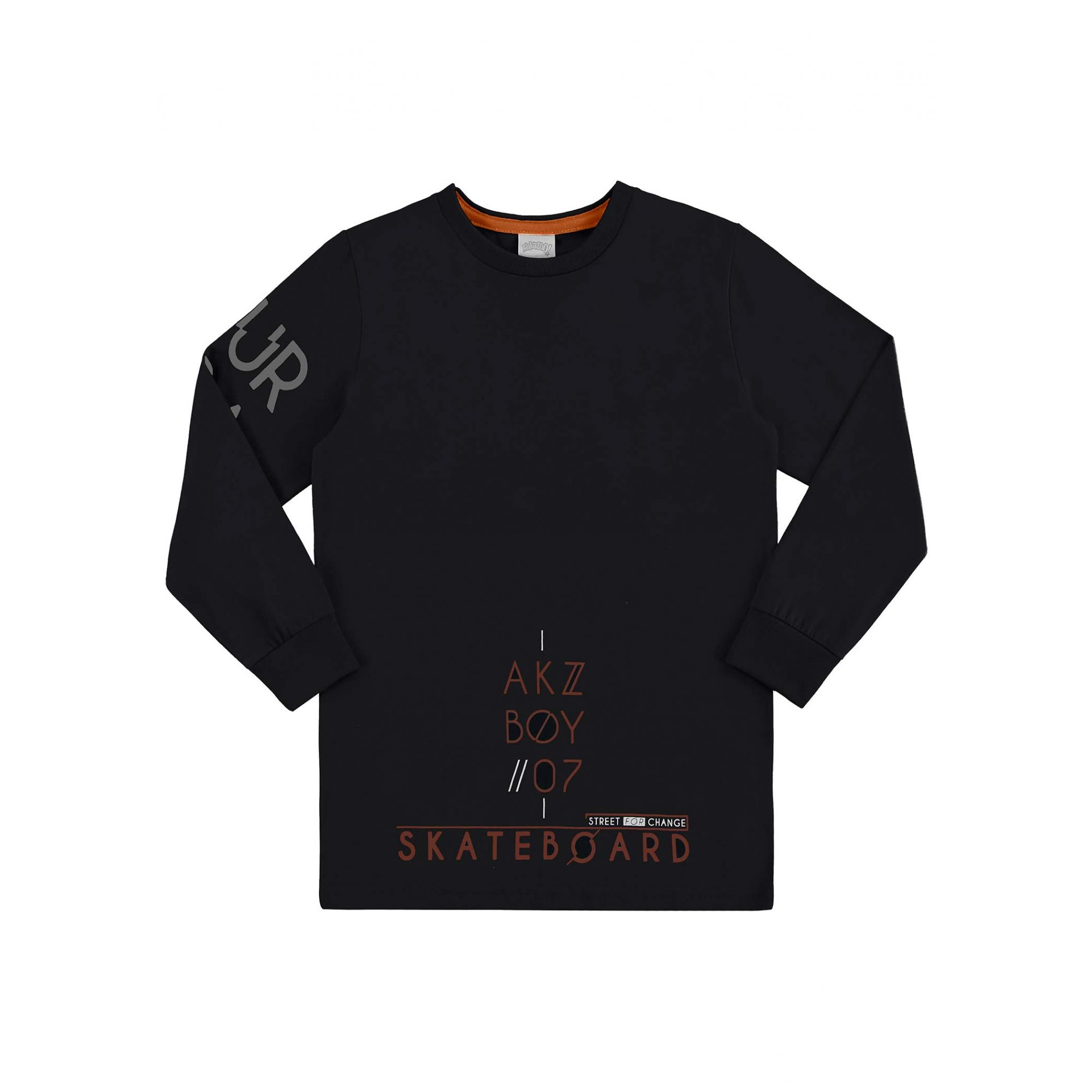 Camiseta Infantil Masculina Inverno Preta Boy Alakazoo