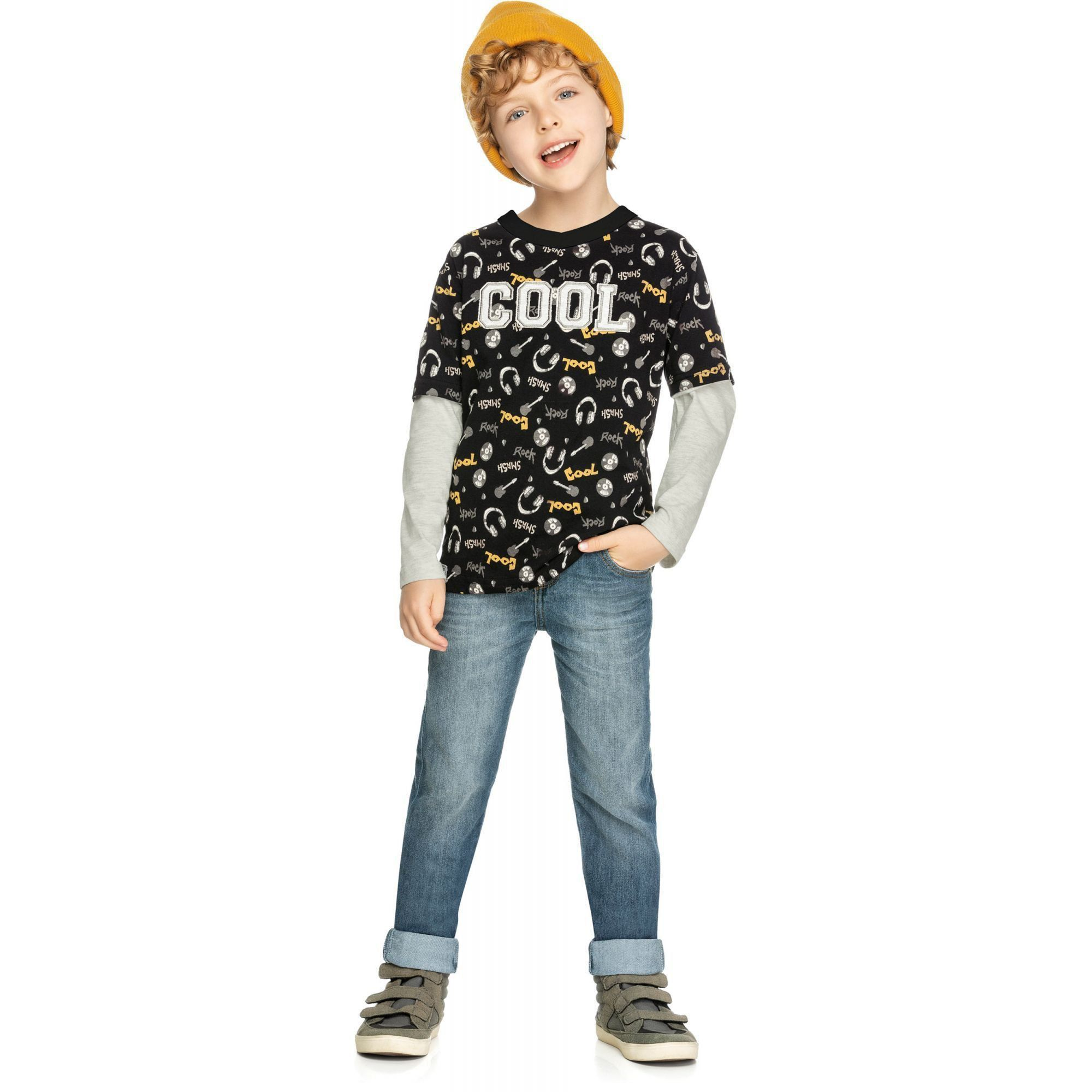 Camiseta Infantil Masculina Inverno Preta Cool Elian