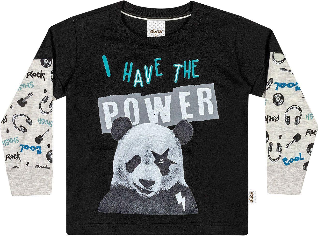 Camiseta Infantil Masculina Inverno Preta Power Elian