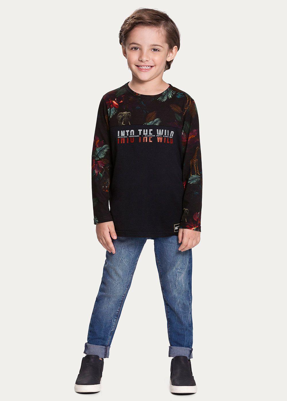 Camiseta Infantil Masculina Inverno Preta Wild Alakazoo